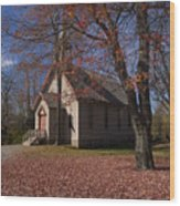 Church And Fall Foliage In Eckley Village Wood Print