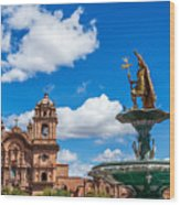 Church And Fountain In Cusco Peru Wood Print