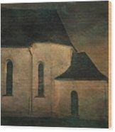 Church At Twilight Wood Print