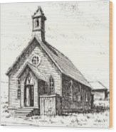 Church Bodie Ghost Town California Wood Print