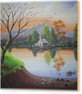Church By The Lake Wood Print