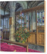 Church Christmas Tree Wood Print
