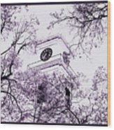 Church Clock In Autumn Wood Print