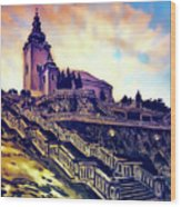 Church Dominant With Decorative Historical Staircase, Graphic Work From Painting. Wood Print