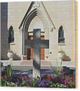 Church Entrance Cross Wood Print