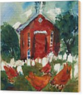Church Hens Wood Print