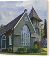 Church In Hanalei Kauai  Wood Print