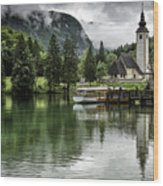 Church In Julian Alps Slovenia Wood Print