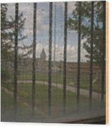 Church In Prison Yard Through Bars Wood Print