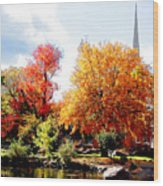 Church In The Distance In Autumn Wood Print