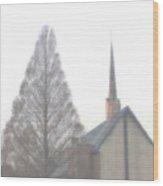 Church In The Fog Wood Print