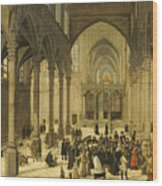 Church Interior With Christ Preaching To A Congregation, 1570 Wood Print