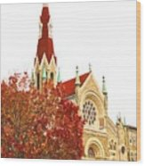 Church Next Door Wood Print