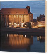 Church Of Our Lady On Sand In Wroclaw By Night Wood Print