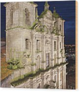 Church Of Saint Lawrence By Night In Porto Wood Print