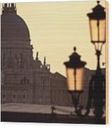 Church Of Santa Maria Della Salute With Lamp Post Wood Print