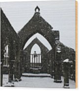 Church Of St Thomas A Becket In Heptonstall In Falling Snow Wood Print