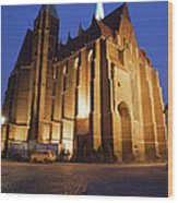 Church Of The Holy Cross By Night In Wroclaw Wood Print