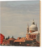 Church Of The Redentore In Venice With Flag Of Venice Wood Print