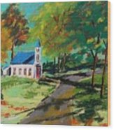 Church On The Bend Landscape Wood Print by John Williams