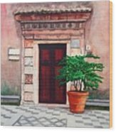 Church Side Door - Taormina Sicily Wood Print