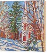 Church Snow Scene Wood Print