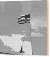 Church Steeple With Flag Tucson Arizona 1984-2016 Wood Print