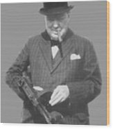 Churchill Posing With A Tommy Gun Wood Print