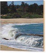 Churning Surf At Monastery Beach Wood Print