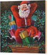 Cigar Santa Wood Print