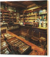 Cigar Shop Wood Print by Yhun Suarez