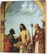 Cima Da Conegliano The Incredulity Of St Thomas With St Magno Vescovo Wood Print