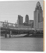 Cincinnati And Bridge Black And White  Wood Print