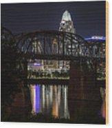 Cincinnati Bridge At Night  Wood Print