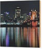 Cincinnati Lights The Ohio River Wood Print