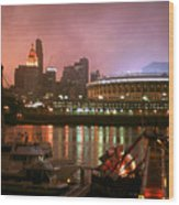 Red Sunset Sky In Cincinnati Ohio Wood Print