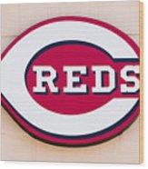 Cincinnati Reds Logo Sign Wood Print by Paul Velgos