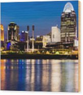 Cincinnati Skyline At Night  Wood Print by Paul Velgos