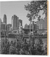 Cincinnati Skyline Through Trees Wood Print