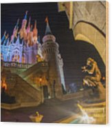Cinderella And Her Castle Wood Print