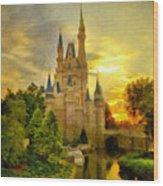 Cinderella Castle - Monet Style Wood Print