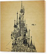 Cinderella Castle Patent Wood Print