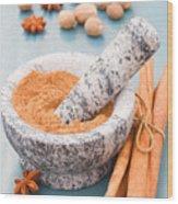 Cinnamon In Mortar Wood Print