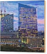 Cira Centre Skyline At Dusk Wood Print