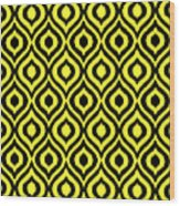 Circle And Oval Ikat In Black N05-p0100 Wood Print