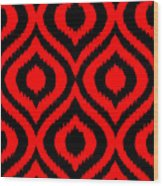Circle And Oval Ikat In Black T02-p0100 Wood Print