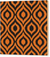 Circle And Oval Ikat In Black T03-p0100 Wood Print