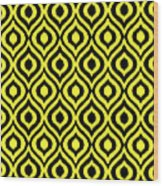 Circle And Oval Ikat In Black T05-p0100 Wood Print