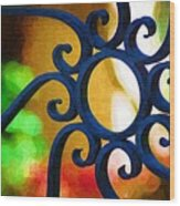 Circle Design On Iron Gate Wood Print