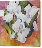 Circle Of Irises  Wood Print